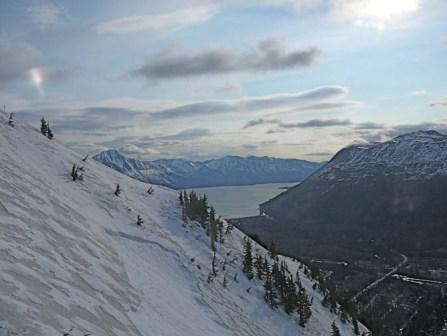 Going up Alyeska Ski Resort above Girdwood Alaska - The gray on the snow is ash from Mt. Redoubt